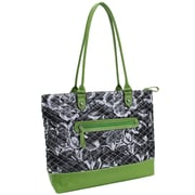 Parinda Allie Gray Floral Green Quilted Fabric with Croco Faux Leather Tote (11161)