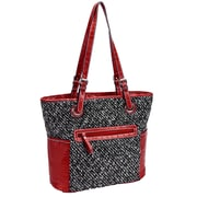 Parinda Melody Tweed Smoke Quilted Fabric with Croco Faux Leather Tote (11175)