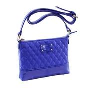 Parinda Cara Blue Quilted Faux Leather Crossbody (11208)