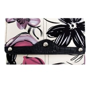 Parinda Giada Violet Floral Fabric with Croco Faux Leather Wallet (11249)