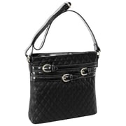Parinda Clarice Black Quilted Faux Leather Crossbody (11275)