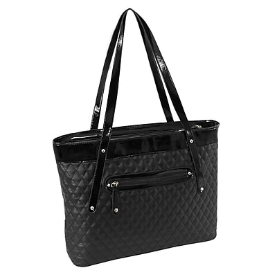 Parinda Fiona Black Quilted Faux Leather Tote (11285)