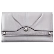 Parinda Eveline Gray Faux Leather Tri-Fold Snap Closure Wallet (11303)