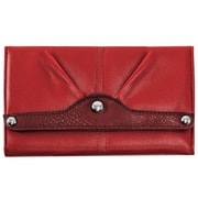 Parinda Eveline Red Faux Leather Tri-Fold Snap Closure Wallet (11306)
