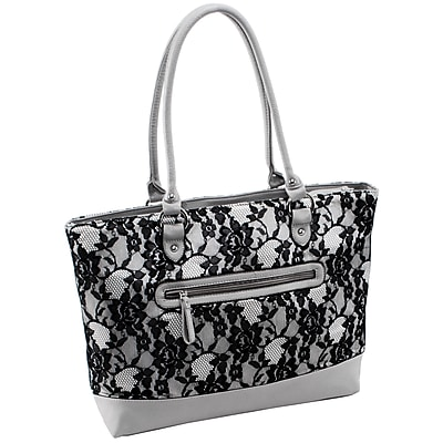 Parinda Aaryn Gray Lace Quilted Fabric with Faux Leather Tote (11323)