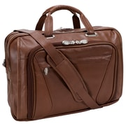 McKlein Irving Park, Double Compartment Laptop Briefcase, Pebble Grain Calfskin Leather, Brown (15574)