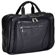 McKlein USA Irving Park S Series Black Pebble Grain Calfskin Leather Double Compartment Laptop Case (15575)