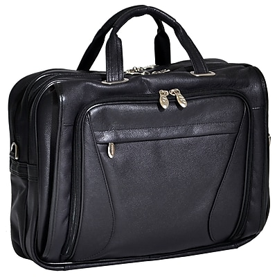 McKlein Irving Park, Double Compartment Laptop Briefcase, Pebble Grain Calfskin Leather, Black (15575)