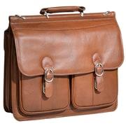 """HAZEL CREST Brown 15.6"""" Leather Double Compartment Laptop Case (15604)"""