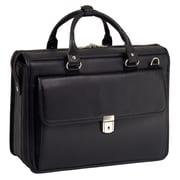McKlein S Series, GRESHAM, Pebble Grain Calfskin Leather, Litigator Laptop Briefcase, Black (15975)