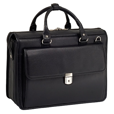McKlein S Series, GRESHAM, Pebble Grain Calfskin Leather, Litigator Laptop Briefcase, Black (15975)
