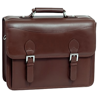 Siamod MANAROLA, BELVEDERE, Oil Pull-Up Leather, Double Compartment Laptop Briefcase, Cognac (25064)