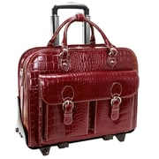 Siamod San Martino Monterosso Red Italian Crocco Leather Detachable-Wheeled Laptop Case (35306)