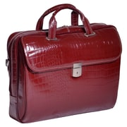 "IGNOTO Cherry Red 17"" Leather Large Ladies' Laptop Brief (35516)"