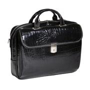 Siamod MONTEROSSO, SETTEMBRE, Embossed Crocco Leather, Medium Ladies Laptop Briefcase, Black (35525)