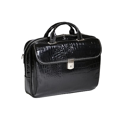 Siamod MONTEROSSO, SERVANO, Embossed Crocco Leather, Tablet Briefcase, Black (35535)