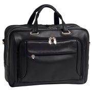 McKlein West Loop Expandable Double Compartment Briefcase, Full Grain Cashmere Napa Leather, Black (44575)