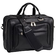 McKlein West Loop Expandable Double Compartment Briefcase, Full Grain Cashmere Napa Leather, Black (44575)