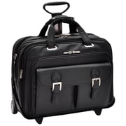 Siamod Ceresola Vernazza Black Napa Cashmere Leather Detachable-Wheeled Laptop Case (46005)