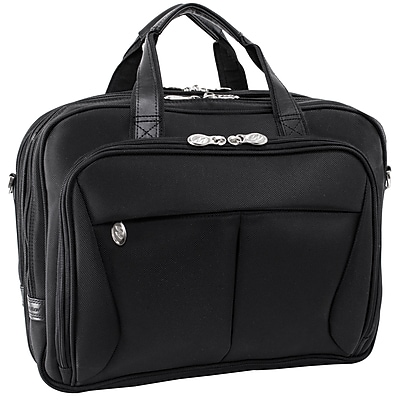 McKlein Pearson Expandable Double Compartment Laptop Briefcase, Tech-Lite Ballistic Nylon, Black (74565)