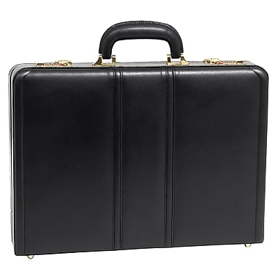 McKlein Lawson Attache Briefcase, Top Grain Cowhide Leather, Black (80455)