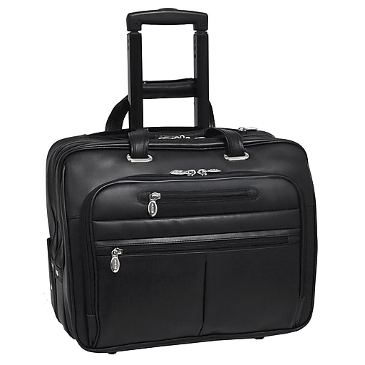 McKlein L Series, WRIGHTWOOD, Top Grain Cowhide Leather with Vegan Leather Trimmed, Wheeled Laptop Briefcase, Black (80505)