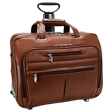 McKlein USA Ohare R Series Brown Full Grain Cowhide Leather Detachable Wheeled Laptop Case (86534)
