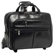 McKlein USA Ohare R Series Black Full Grain Cowhide Leather Detachable Wheeled Laptop Case (86535)