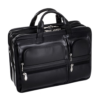 McKlein Hubbard, Double Compartment Laptop Briefcase, Top Grain Cowhide Leather, Black (88435)