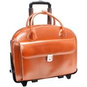 McKlein USA Glen Ellyn W Series Orange Top Grain Leather Detachable-Wheeled Ladies Laptop Case (94360)