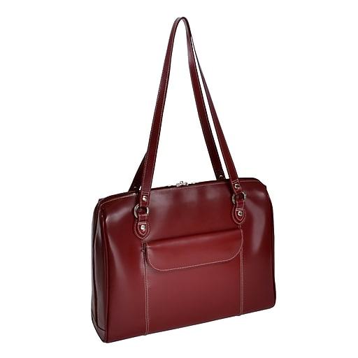 McKlein W Series, GLENVIEW, Genuine Cowhide Leather, Ladies' Laptop Briefcase, Red (94746)