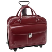McKlein USA Lakewood W Series Red Top Grain Leather Detachable-Wheeled Ladies Briefcase (96616)