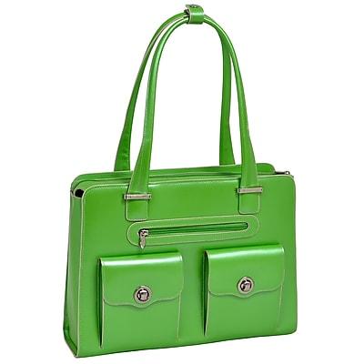 McKlein W Series, VERONA, Genuine Cowhide Leather, Fly-Through Checkpoint-Friendly Ladies' Laptop Briefcase, Green (96621)