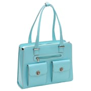 McKlein USA Verona W Series Aqua Blue Top Grain Leather Ladies Briefcase (96628)