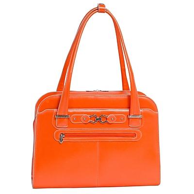 McKlein W Series, OAK GROVE, Genuine Cowhide Leather, Fly-Through Checkpoint-Friendly Ladies' Laptop Briefcase, Orange (96630)