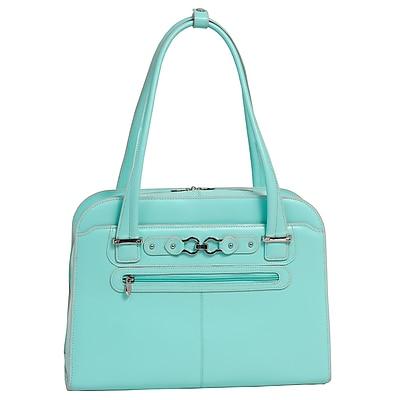 McKlein W Series, OAK GROVE, Genuine Cowhide Leather, Checkpoint-Friendly Ladies' Laptop Briefcase, Aqua Blue (96638)