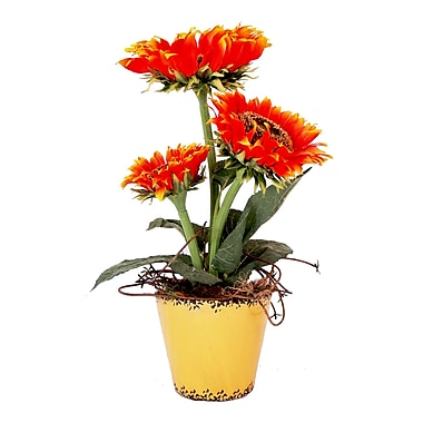 Creative Displays, Inc. Sunflower and Vine in Ceramic Pot; Orange