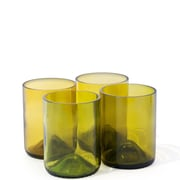 Bottles & Wood Wine Bottle Rocks Glass (Set of 4); Amber