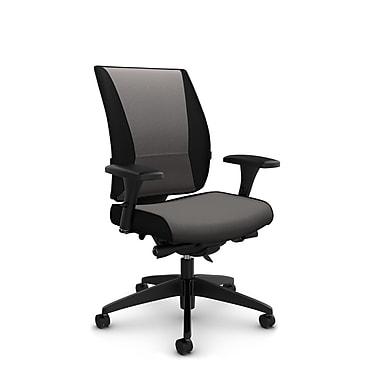 Takori – Fauteuil à inclinaison au genou synchronisée à dossier haut, tissu Imprint graphite, gris