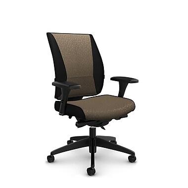 Takori – Fauteuil à inclinaison au genou synchronisée à dossier haut, tissu Match sable, brun