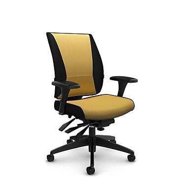 Takori – Fauteuil à inclinaison multiple à dossier haut, tissu Imprint cari, jaune