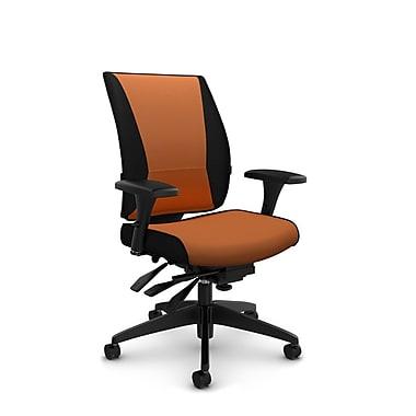 Takori – Fauteuil à inclinaison multiple à dossier haut, tissu Imprint paprika, orange