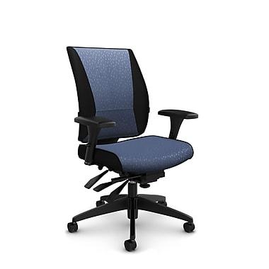 Takori – Fauteuil à inclinaison multiple à dossier haut, tissu Match bleu, bleu