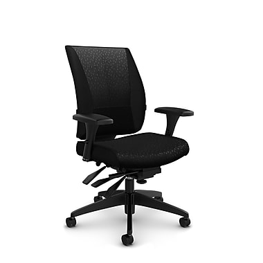 Takori – Fauteuil à inclinaison multiple à dossier haut, tissu Match noir, noir