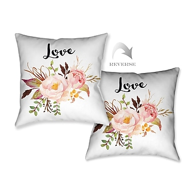 LauralHome Watercolor Flowers and Love Throw Pillow