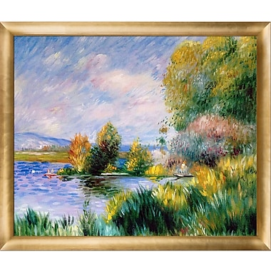 La Pastiche The Seine at Bougival, 1879 by Pierre-Auguste Renoir Framed Painting Print