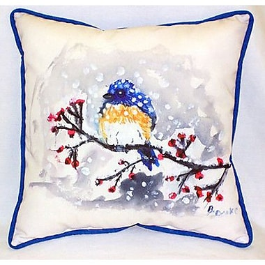 Betsy Drake Interiors Bird and Snow Indoor/Outdoor Throw Pillow
