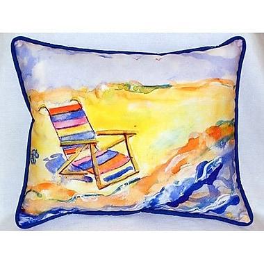 Betsy Drake Interiors Chair On Beach Indoor/Outdoor Lumbar Pillow