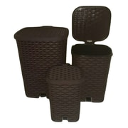 Superior Performance Plastic 3 Piece Step On Trash Can Set