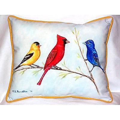 Betsy Drake Interiors Three Birds Indoor/Outdoor Lumbar Pillow